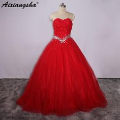 Red Quinceanera Dresses Beading In Waist Sweet 16 Dresses