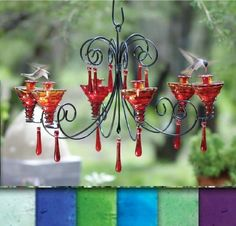 beautiful chandelier hummingbird feeder
