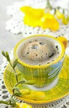 Photo about Freshly cup of espresso coffee in colorful scene with flowers, shallow DOF. Coffee Vs Tea, Coffee Is Life, I Love Coffee, Coffee Cafe, Good Morning Coffee, Coffee Break, Café Chocolate, Coffee Dessert, Breakfast Tea