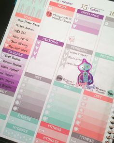 A closer look at next week's spread using a customized version of @gracefulglamdesigns Mint Coral & Purple Printable Sticker Kits. #gracefulglamdesigns #weeklyspread #erincondren #erincondrenlifeplanner #printablestickers #customstickers #glamplanner #glamplanning by gracefulglamdesigns