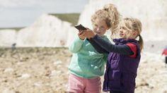 Children recording coastal sounds at Birling Gap, East Sussex