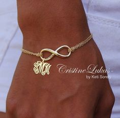 Designer Infinity Bracelet with Monogrammed Initials (Order Your Initials) - 18K Gold with Sterling Silver