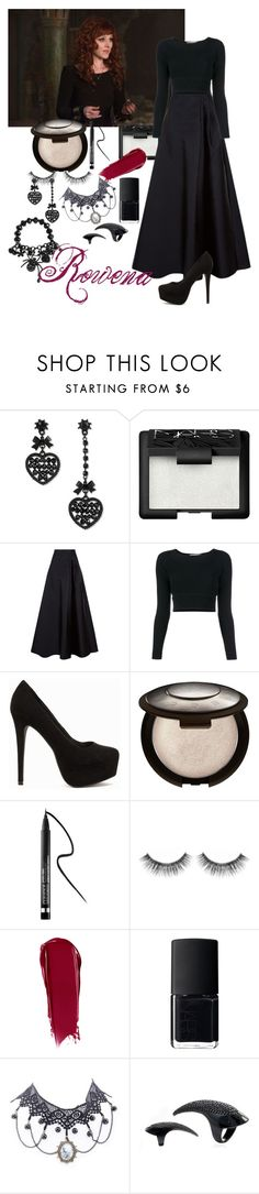 """Supernatural: Rowena"" by nowstop-emmatime ❤ liked on Polyvore featuring Betsey Johnson, NARS Cosmetics, MaxMara, Jonathan Simkhai, Nly Shoes, Becca, Clinique and Sephora Collection"