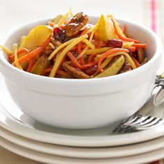 Glazed Parsnips and Carrots with fresh pears, dried cranberries, orange juice