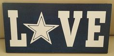 Dallas Cowboys wood sign. This sign is made of 1/2 pine and measures approximately 6x12. Its painted Blue and White - there is no vinyl on this