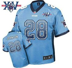 Nike Tennessee Titans Jersey #28 Chris Johnson Light Blue Team Color With 15Th Season Patch NFL Elite Drift Fashion Jerseys