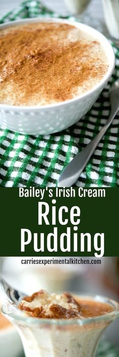 Bailey's Irish Cream Rice Pudding has a deliciously creamy, nutty flavor and makes a tasty dessert the entire family will love. Bailey's Irish Cream Rice Pudding has a deliciously creamy, nutty flavor and makes a tasty dessert the entire family will love. Desserts Keto, Irish Desserts, Irish Recipes, Sweet Desserts, Delicious Desserts, Asian Desserts, Rice Recipes For Dinner, Snack Recipes, Dessert Recipes