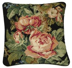 Cabbage Roses Needlepoint Toss Pillow