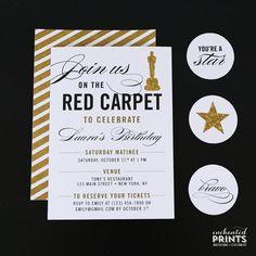 Alfombra roja fiesta invitación - alfombra roja cumpleaños, evento de alfombra roja, premios Show fiesta, fiesta Hollywood, película tema fiesta invitación