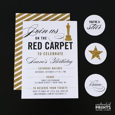 Red Carpet Birthday Party Invitation, Awards Show Party Invitation, Broadway, Movies, Glamour, Printed Invitations or Printable File