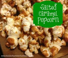 Salted Caramel Popcorn, made without refined sugar! - Health Starts in the Kitchen Healthy Popcorn, Popcorn Recipes, Snack Recipes, Healthy Recipes, Savory Snacks, Healthy Snacks, Healthy Eating, No Salt Recipes, Real Food Recipes
