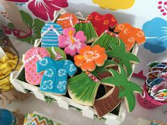Amazing cookies at a luau birthday party!  See more party planning ideas at CatchMyParty.com!