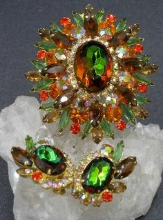 AB Rhinestones Vintage Costume Jewelry Gift For Her Under 200 VERIFIED JULIANA D /& E 1960/'s Snowflake Brooch and Earrings Demi Parure