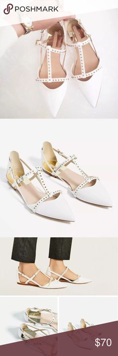 ZARA WHITE D'ORSAY FLAT POINTED SANDAL Brand new with tags, US 9 EU 40, white with studs, D'ORSAY design, flat sandal with t straps as shown. Never worn or tried on. Zara Shoes Flats & Loafers
