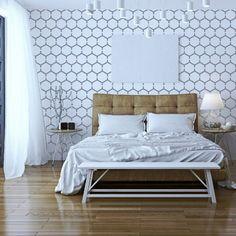 waben wand schablone wiederverwendbar | puder, schablonen und design - Deko Ideen Hexagon Wabenmuster Modern