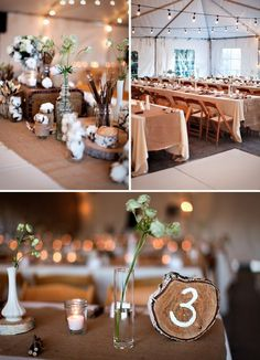 Love the bottom picture, I really like the idea of using the tree as table numbers.
