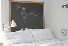 I really like the idea of the chalk board. It'd be fairly simple to do, too.