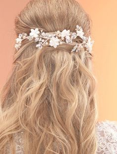 AR518, Handmade Entwined Floral Bridal Hair Vine by Arianna Tiaras