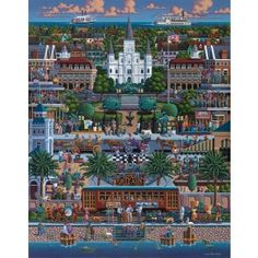 """Often referred to as """"The Big Easy"""", this southern city is well known for its food, music and French heritage. New Orleans is the biggest city in Louisiana and lies on the Mississippi River. Locals and tourists alike enjoy the fun and festivities of the annual Mardi Gras celebration. Finished puzzle 19.25""""x26.625"""".Dowdle Folk Art puzzles present a collection of travel inspired artwork by the prolific Eric Dowdle. He is known for traveling around the world, often visiting places in search of…"""