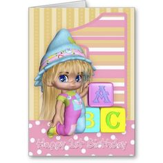 1st Birthday Card With Cute Little Girl And Blocks