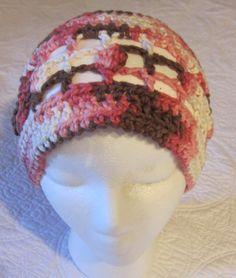 Crochet Hat/Multi Color pinkswhitebrown/Soft Cotton by Kitkateden, $12.00