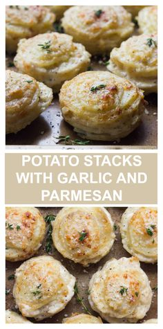 Creamy on the inside and crispy on the outside. These potato stacks with garlic, thyme, and parmesan are insanely good! #potatostacks #potatorecipes #thanksgivingsides #creamypotatoes