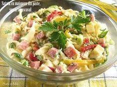 Satata-cu-maioneza-din-paste-sunca-si-cascaval-3-1 Cold Vegetable Salads, Gluten Free Recipes, Healthy Recipes, Healthy Food, Good Food, Yummy Food, Romanian Food, 30 Minute Meals, Cafe Food