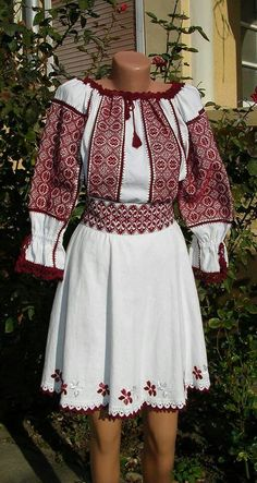 "Handmade skirt and handmade national authentic romanian blouse named ""ie"""