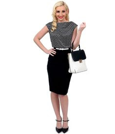 A fused frock for your consideration! A charming two-toned dress in a cheeky black and white chain print bodice complemented by solid black, structured in a superb wiggle silhouette. Crafted in a lightweight stretch blend and boasting a dainty sleeveless bateau bodice with slight gathers while a darted pencil skirt is belted at the natural waist and flatters curves to the knees.  A back vent in the skirt tops off this structured stunner! <BR>Available in sizes S-2X while supplies last.