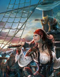f Half Elf Warlock Pirate sea ship story Pirate Art, Pirate Woman, Pirate Life, Fantasy Women, Fantasy Girl, Character Portraits, Character Art, Greek Warrior, Warrior Women