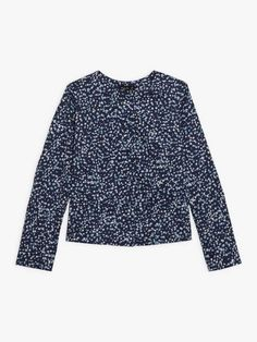 veste stecy bleue marine à pois graphiques | agnès b. Bell Sleeves, Bell Sleeve Top, Collection, Tops, Women, Fashion, Charts, Jacket, Blue