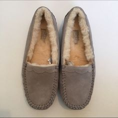 NWT Grey Moccasin NWT include box and authenticity papers UGG Shoes Moccasins