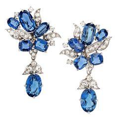 Stunning Aquamarine and Diamond Earrings, ca. 1950s