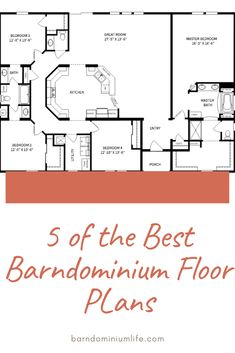 Barndominium Floor Plans With Shop -- featured here with full description and superb front elevation drawings looking like the Kentucky Derby Grandstand. Barn Homes Floor Plans, Metal House Plans, Pole Barn House Plans, Pole Barn Homes, Shop House Plans, New House Plans, Dream House Plans, Small House Plans, House Floor Plans