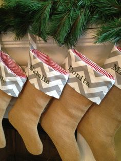 Christmas Stocking with Embroidery  Burlap R