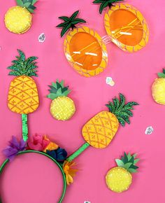 So much love for these pineapple sunglasses and head boppers! Perfect for anyone going to a Hawaiian luau party or looking for a fun summer accessory! Hawaiian Luau Party, Tropical Party, Summer Accessories, Beach Party, Pineapple, Make It Yourself, Sweet, Birthday Ideas, Blog