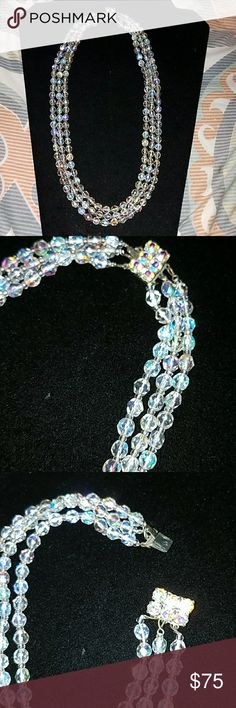 "Vintage Aurora Borealis Three Strand Cut Necklace Three staggered strands of vintage Aurora Borealis style beads. Beautiful condition with beaded clasp.  18"" 20"" and 22"" strands. Jewelry Necklaces"