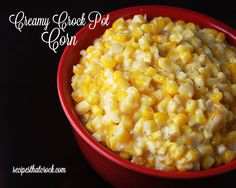 Creamy Crock Pot Corn- THE BEST Corn and so simple to make! The slow cooker does all the work. Perfect for the holidays, potlucks, picnics or a treat for a weeknight meal.