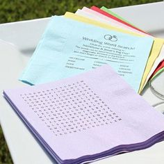 Custom printed wedding word search puzzle cocktail napkins with word puzzle answers