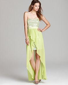 0ffb0b434b6 Aqua Strapless Gown - Sequin Bodice Hi Low