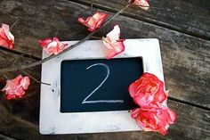 Shabby Chic Table Number Chalk boards With Eternity Bloom - Pick Your Shade Bloom- Buy 2 items get one FREE. $13.00, via Etsy.