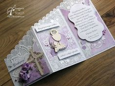 Good morning everyone, it is Domcia here. I would like to show you today one of the cascade card I made for a Priest. Communion Invitations, Christening Invitations, Tri Fold Cards, Folded Cards, First Communion Decorations, Thank You Presents, Baptism Cards, Christian Cards, First Holy Communion