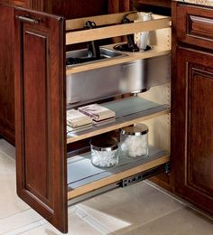 Make your kitchen cabinet designs and remodeling ideas a reality with the most recognized brand of kitchen and bathroom cabinetry - KraftMaid. Bathroom Cabinetry, Bathroom Storage, Kitchen Storage, Bathroom Drawers, Bathroom Hacks, Bathroom Flooring, Bathroom Organization, Diy Kitchen, Small Bathroom