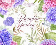 Boda acuarela Hortensia flores, elementos florales, hierbas, pintado a mano flores invitaciones, tarjeta de felicitación, Imágenes Prediseñadas, digital imprimible