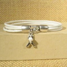 Lung Cancer Awareness Bracelet  White by ThunderMoonAwareness, $14.00