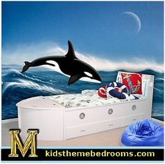 Killer Whales Wall Decals -WAVES wall murals-nautical bedding-nautical theme boat bed