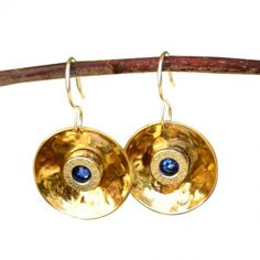 Birth Stone Bullet Earrings -380 Auto Shell Casing - Hammered Gold Plated Disc - Sterling Silver. #earrings #want #jewelry 9thelm.com