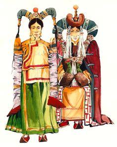 Damas de Mongolia Dibujo de Luis Dávila Viera  #LuisDavilaViera