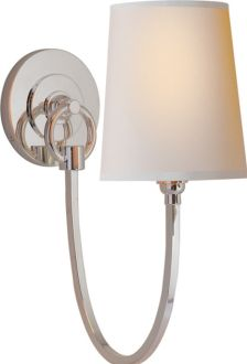 """REED SINGLE SCONCE  item # TOB2125     designer Thomas O'Brien    OVERVIEW     Height: 13""""  Width: 5""""  Backplate: 4 1/2"""" Round  Extension: 10 1/2""""  Shade Size: 4"""" x 5"""" x 6""""  Wattage: 1 - 60 Watt Type B  polished silver, natural paper $252"""