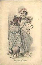 French New Year – Pretty Woman w/ Pig on Leasg A/S Reckziegel Postcard